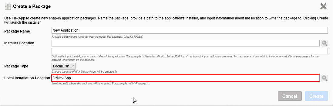 Issue capturing application on VHD or using VMDK  Local install for
