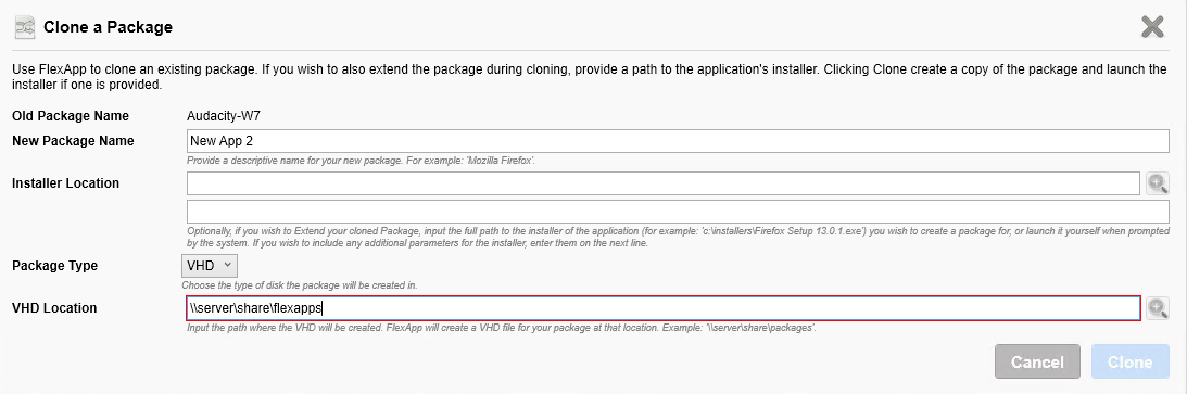 Issue capturing application on VHD or using VMDK  Local