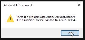 Adobe Reader Error 0 104